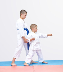 The elder brother karateka is training brother punch arm