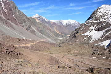 landscape of volcano, mountain, glacier and valley in Chile