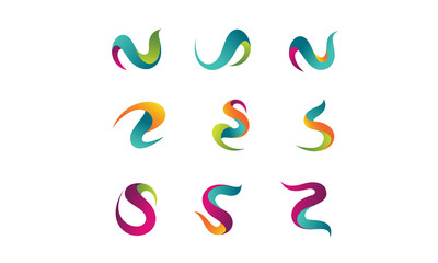 icons abstract letter, vibrant and colorful logo