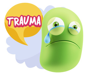 3d Illustration Sad Character Emoji Expression saying Trauma wit
