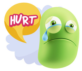 3d Illustration Sad Character Emoji Expression saying Hurt with
