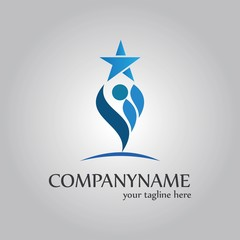 abstract person holds a star in hand logo