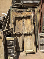 old doors stacked against each other
