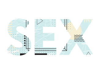Abstract creative typography of word sex. Lettering