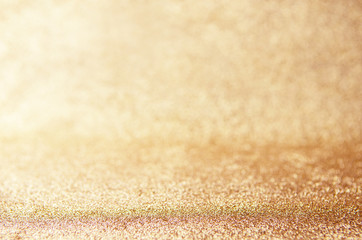 Fototapete - Golden Holiday Abstract Glitter Defocused Background. Blurred Bokeh, Christmas and New Year Background