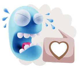 3d Illustration Sad Character Emoji Expression saying Heart Shap
