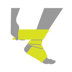 Flat icon injured leg or foot with bandage