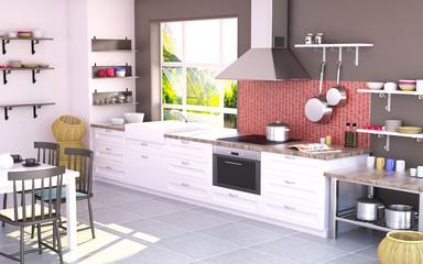 3D renderng Kitchen