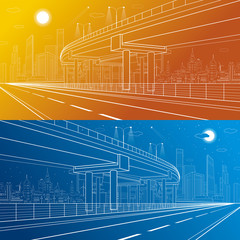 Automotive isolation, architectural and infrastructure illustration, transport overpass, highway, white lines urban scene, city on background, dynamic illustration, day and night, vector design art