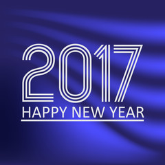 happy new year 2017 on dark blue abstract color background eps10
