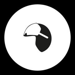 black isolated simple modern pilot helmet icon eps10