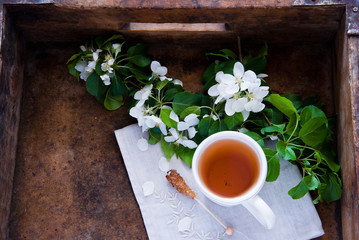 Cup of tea and spring flowers