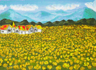 Meadow with yellow dandelions, oil painting