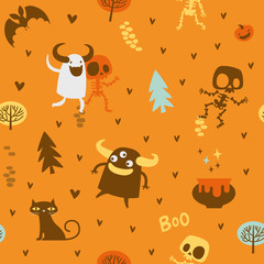 Halloween theme pattern, Cute skeletons and monsters in a forest. Mexican day of the dead theme. Flat Vector illustration