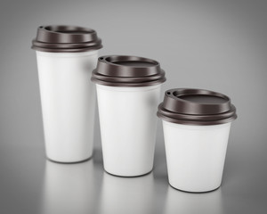 Close-up disposable plastic cups of different sizes. 3d renderin