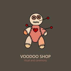 Vector voodoo doll logo.