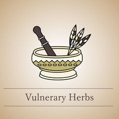 Vector logo of a mortar for herbs.