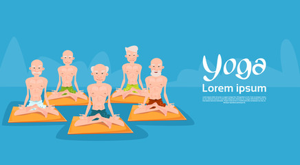 Senior Man Group Sitting In Yoga Lotus Position Relaxing Doing Exercises