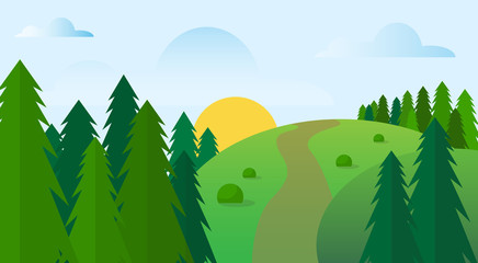 Aluminium Prints Green Summer Landscape Road Blue Cloud Sky With Sun Green Grass Forest