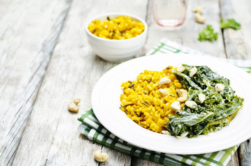 Turmeric rice with coconut Kale and cashew