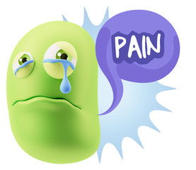 3d Illustration Sad Character Emoji Expression saying Pain with