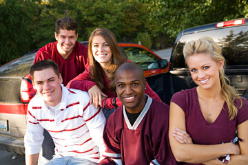 Tailgating: College Football Friends Hanging Out Together