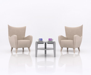 Two armchairs facing each other on opposite between the tea table with two cup in different colors, in white abstract scene with a reflective floor. Business concept partnership, 3d rendering