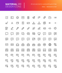 Material design icons set. Thin line pixel perfect icons for contact, communication, social media, networking. Premium quality icons for website and app design.