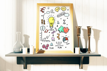 Picture frame with business sketch