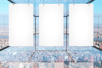 Blank banners in glass room