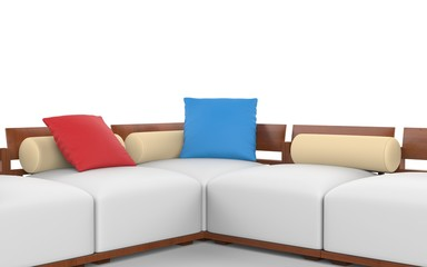 Corner sofa with wooden headrests and white seats