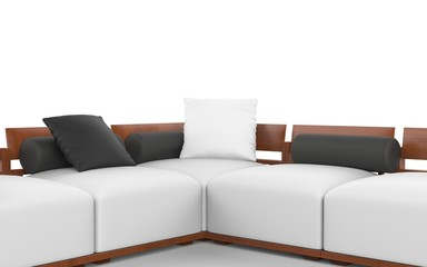Corner sofa with wooden headrests, white seats and black pillows