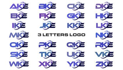 3 letters modern generic swoosh logo AKE, BKE, CKE, DKE, EKE, FKE, GKE, HKE, IKE, JKE, KKE, LKE, MKE, NKE, OKE, PKE, QKE, RKE, SKE, TKE, UKE, VKE, WKE, XKE, YKE, ZKE