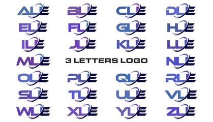 3 letters modern generic swoosh logo ALE, BLE, CLE, DLE, ELE, FLE, GLE, HLE, ILE, JLE, KLE, LLE, MLE, NLE, OLE, PLE, QLE, RLE, SLE, TLE, ULE, VLE, WLE, XLE, YLE, ZLE
