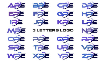 3 letters modern generic swoosh logo ARE, BRE, CRE, DRE, ERE, FRE, GRE, HRE, IRE, JRE, KRE, LRE, MRE, NRE, ORE, PRE, QRE, RRE, SRE, TRE, URE, VRE, WRE, XRE, YRE, ZRE