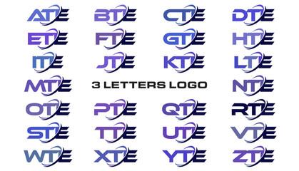 3 letters modern generic swoosh logo ATE, BTE, CTE, DTE, ETE, FTE, GTE, HTE, ITE, JTE, KTE, LTE, MTE, NTE, OTE, PTE, QTE, RTE, STE, TTE, UTE, VTE, WTE, XTE, YTE, ZTE