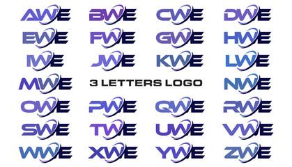 3 letters modern generic swoosh logo AWE, BWE, CWE, DWE, EWE, FWE, GWE, HWE, IWE, JWE, KWE, LWE, MWE, NWE, OWE, PWE, QWE, RWE, SWE, TWE, UWE, VWE, WWE, XWE, YWE, ZWE