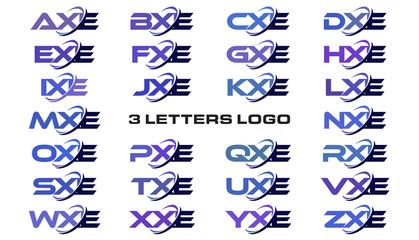 3 letters modern generic swoosh logo AXE, BXE, CXE, DXE, EXE, FXE, GXE, HXE, IXE, JXE, KXE, LXE, MXE, NXE, OXE, PXE, QXE, RXE, SXE, TXE, UXE, VXE, WXE, XXE, YXE, ZXE