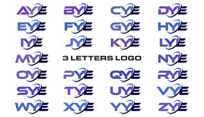 3 letters modern generic swoosh logo AYE, BYE, CYE, DYE, EYE, FYE, GYE, HYE, IYE, JYE, KYE, LYE, MYE, NYE, OYE, PYE, QYE, RYE, SYE, TYE, UYE, VYE, WYE, XYE, YYE, ZYE
