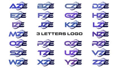 3 letters modern generic swoosh logo AZE, BZE, CZE, DZE, EZE, FZE, GZE, HZE, IZE, JZE, KZE, LZE, MZE, NZE, OZE, PZE, QZE, RZE, SZE, TZE, UZE, VZE, WZE, XZE, YZE, ZZE