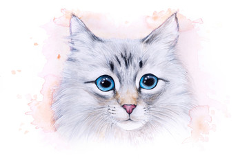 Watercolor illustration of a white cat