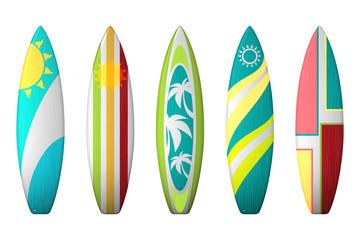 Surf boards designs. Vector surfboard coloring set
