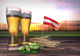 beer consumption in Austria. 3D render