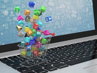 shopping cart with application software icons on laptop. 3d rendering.