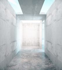 Abstract concrete room