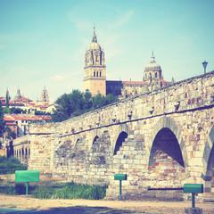 Wall Mural - Roman bridge and Salamanca Cathedral