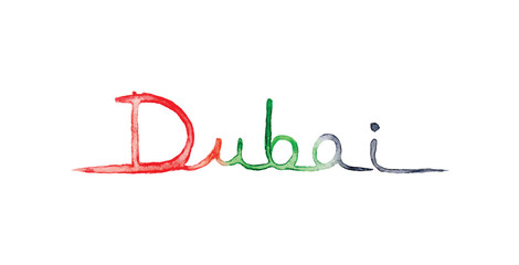 Dubai lettering painting with arab emirates flag colors