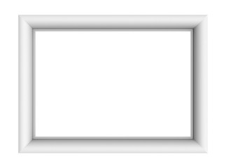 White picture frame isolated on white background. 3D illustration.