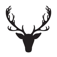 Deer head vector illustration isolated elk silhouette