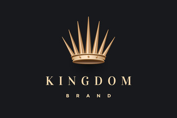 Logo with gold king crown and inscription Kingdom